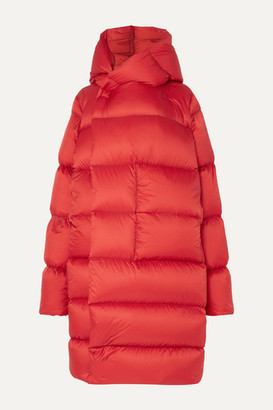 Rick Owens Oversized Hooded Quilted Shell Down Coat - Red