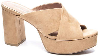 Show Me Your Mumu Tegan Platform Mule Heels ~ Camel Suede