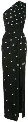 Oscar de la Renta one shoulder polka dot dress
