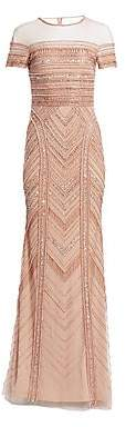 Theia Women's Embellished Tulle Mermaid Gown