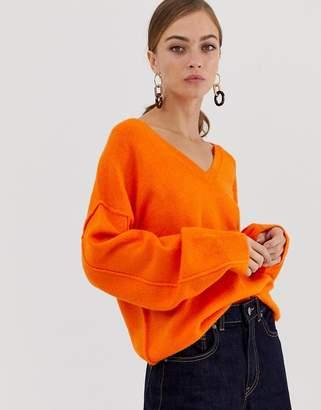 Asos Design DESIGN fluffy jumper with v neck