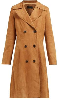 Nili Lotan Double Breasted Suede Trench Coat - Womens - Brown
