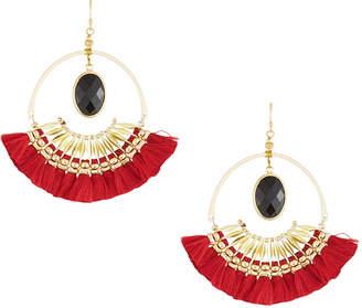 Nakamol Tassel Hoop Drop Earrings, Red