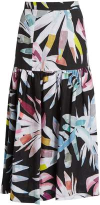 MARA HOFFMAN Xylophone Black-print gathered linen skirt $342 thestylecure.com