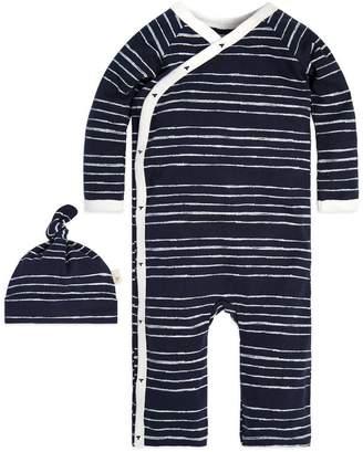 Burt's Bees Lullaby Stripe Kimono Organic Baby Cotton One Piece Jumpbee & Hat Set