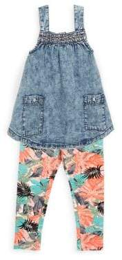 Jessica Simpson Little Girl's Two-Piece Denim Top and Cotton Printed Leggings Set