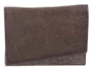 Helmut Lang Distressed Leather Flap Clutch