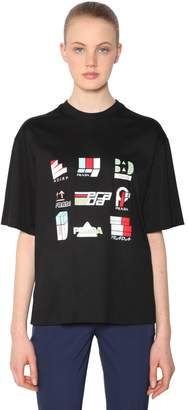 Prada Logo Printed Cotton Jersey T-Shirt