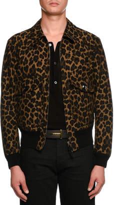 Tom Ford Leopard-Print Short Bomber Jacket