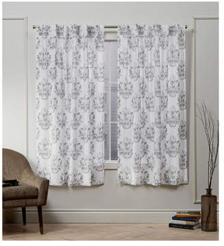 "Nicole Miller Exclusive Home Tabitha Damask Print Cotton Hidden Tab Top 50"" X 63"" Curtain Panel Pair"