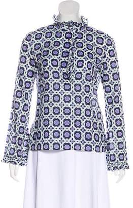 Tory Burch Ruffle-Accented Printed Blouse