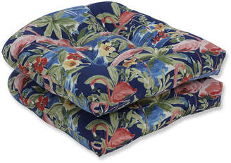 Pillow Perfect Flamingoing Lagoon Wicker Seat Cushion, Set of 2