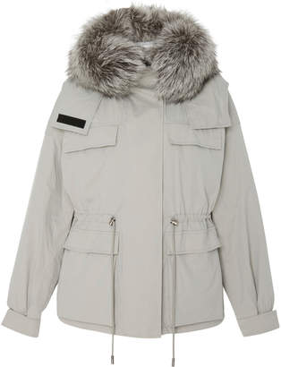 Yves Salomon Paris Fox Fur-Trimmed Cotton-Bachette Parka