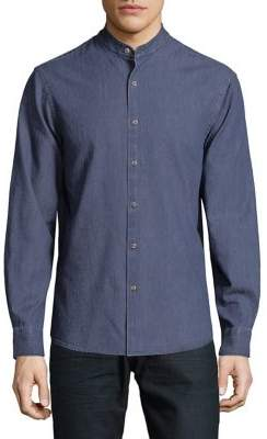 Black & Brown Black Brown Banded-Collar Denim Shirt
