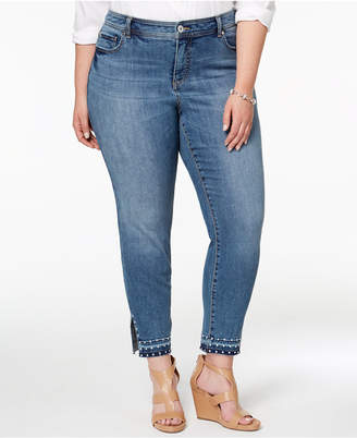 INC International Concepts I.n.c. Plus Size Studded Skinny-Leg Jeans, Created for Macy's