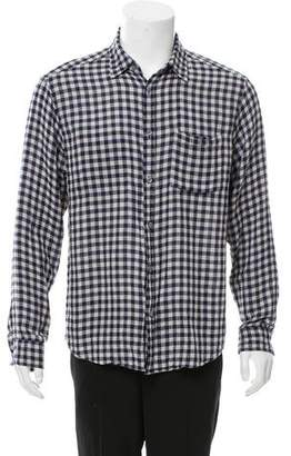 Theory Plaid Button-Up Shirt