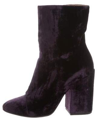 Dries Van Noten Cap-Toe Velvet Ankle Boots