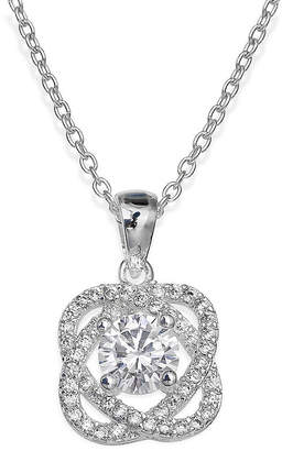 JCPenney SPARKLE ALLURE Sparkle Allure Cubic Zirconia Silver-Plated Love Knot Pendant Necklace