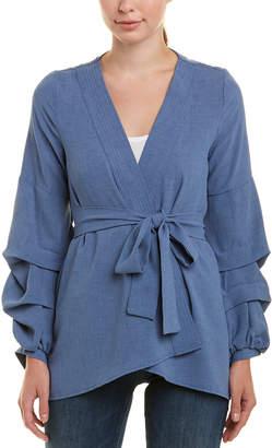 Glam Bubble Sleeve Wrap Kimono Top