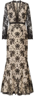 Alexander McQueen Satin-trimmed Cotton-blend Lace Gown - Off-white