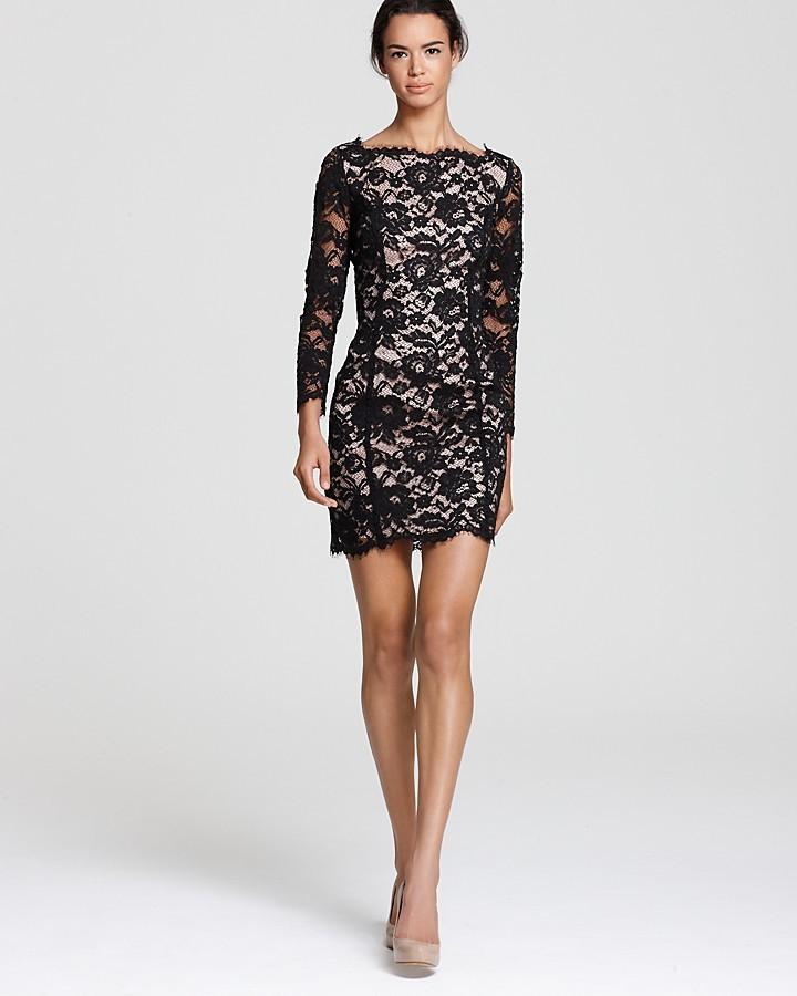 Madison Marcus Short Dress - Long Sleeve Lace with Deep V Back