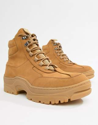 Asos Design DESIGN sneaker boot in tan nubuck with chunky sole