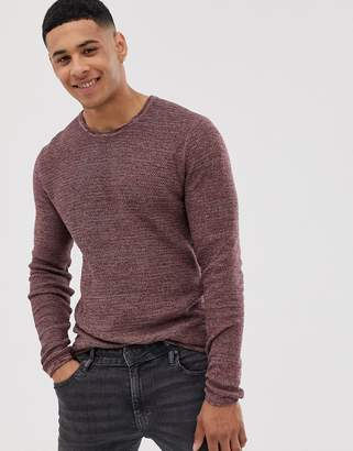ONLY & SONS knitted sweater with red mixed yarn cotton