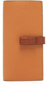 Loewe Logo Debossed Grained Leather Wallet - Womens - Tan Multi