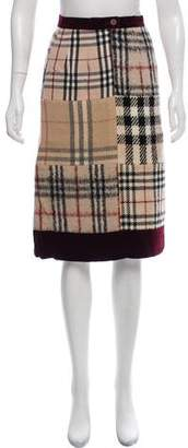 Burberry Patchwork Check Wool Skirt