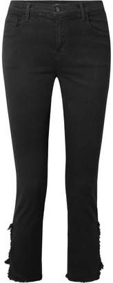 J Brand Ruby Cropped Distressed High-rise Straight-leg Jeans - Black