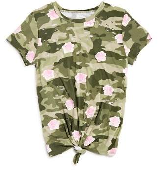 Flowers by Zoe Girls' Distressed Camo & Rose Print Tee - Little Kid