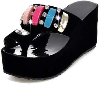 SaraIris Women's Flip Flop Outdoor Silppers Shining Rhinestone Daily Platform Sandals Shoes