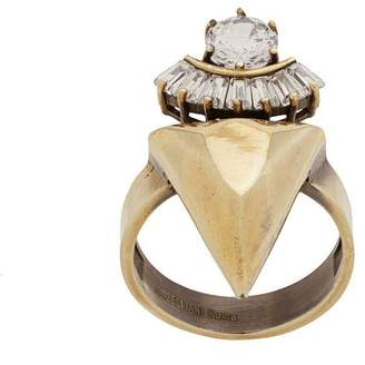 Iosselliani White Eclipse stacked spike ring