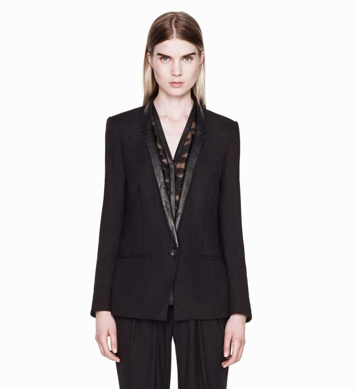 Helmut Lang Ark Suiting Slim Leather Blazer