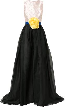 Carolina Herrera flower brooch ball gown