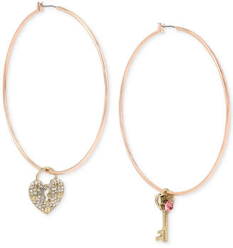 Betsey Johnson Rose Gold-Tone Crystal Lock & Key Mismatch Hoop Earrings