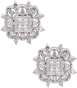 Tag Heuer FINE JEWELLERY 14K Rhodium Plated White Gold Square 0.33ct Diamond Stud Earrings