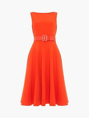 Phase Eight Shona Belted Fit and Flare Dress, Vermilion Red