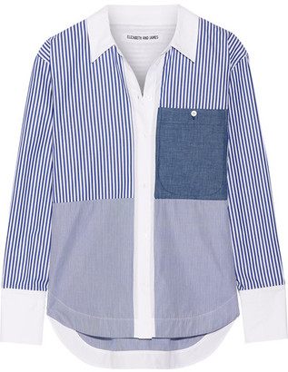 Elizabeth and James - Keating Striped Cotton-poplin Shirt - Blue $325 thestylecure.com