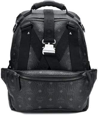 MCM logo buckle-detail backpack