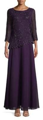 J Kara Petite Asymmetrical Popover A-Line Gown