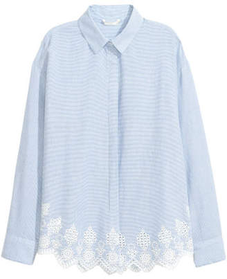 H&M Shirt with Eyelet Embroidery - Blue