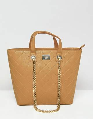 Marc B Shopper With Grab Handle And Chain Shoulder Strap
