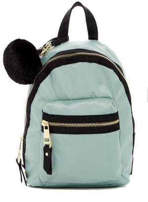 Madden Girl Bold Faux Fur Pom Pom Mini Nylon Backpack $58 thestylecure.com