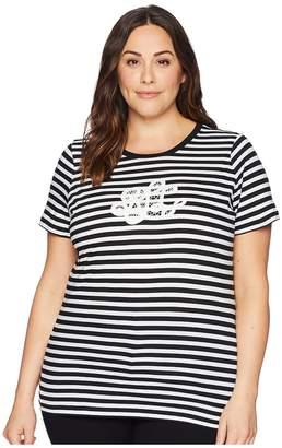 Lauren Ralph Lauren Plus Size Logo Striped Jersey T-Shirt Women's T Shirt