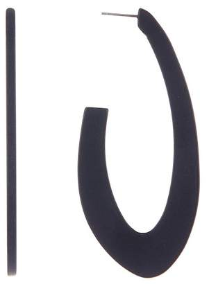 Spring Street Matte Black Oval Hoop Earrings
