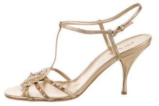 Prada Leather Ankle Strap Sandals