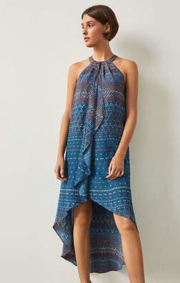 BCBGMAXAZRIA Lanna Tapestry-Print High-Low Gown