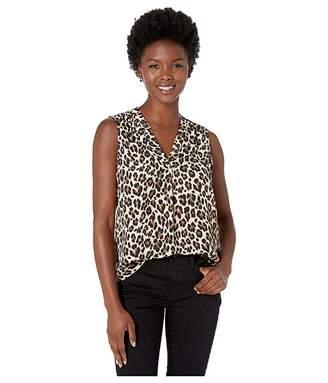 Vince Camuto Specialty Size Petite Sleeveless V-Neck Elegant Leopard Blouse