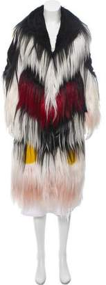 Rodarte Colorblock Goat Hair Coat